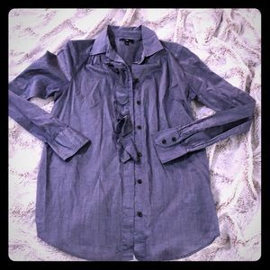Chambray Button Shirt with Ruffle Front
